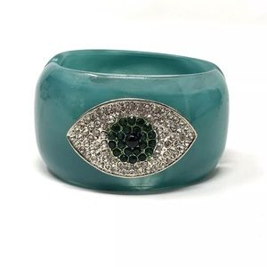 Jewelry - Turquoise Hamsa Evil Eye Hinged Bracelet Cuff Teal